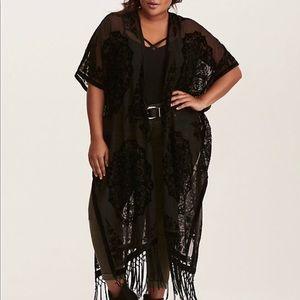 Torrid Blk  Velvet Burnout Long Kimono with Fringe